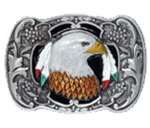Eagle Head with Feathers Belt Buckle with display stand. Product code WA5